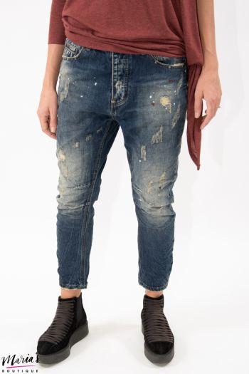 Jeans cu rupturi și picături de vopsea