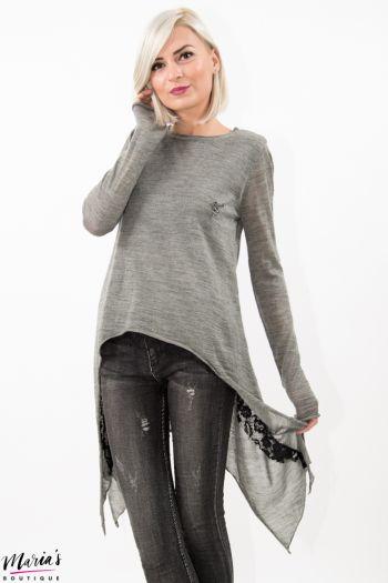Bluză tricotată gri asimetrică