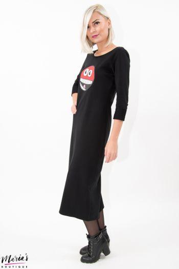 Rochie neagră lungă cu imprimeu cauciucat pe piept