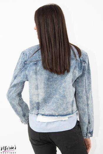 Jachetă scurtă denim cu aplicații brodate