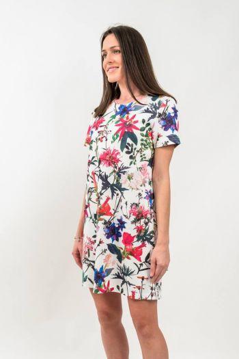 Rochie de zi dreaptă cu imprimeu floral