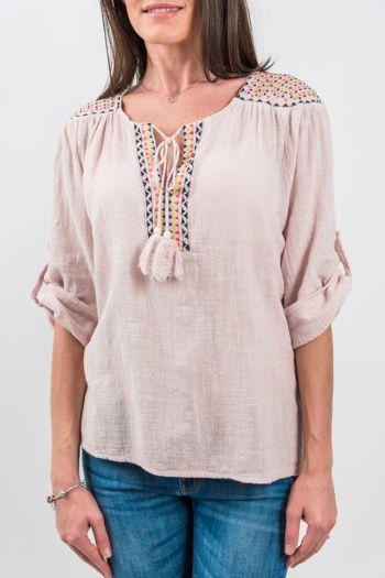 Bluză roz prăfuit cu broderie și șnur cu canaf