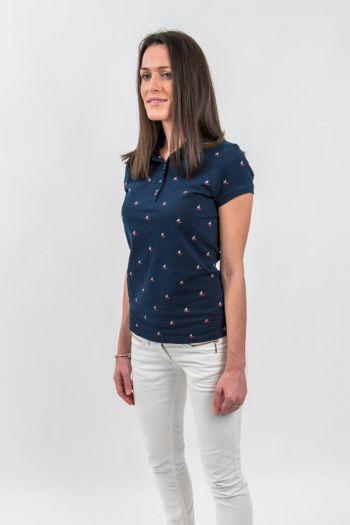 Tricou albastru polo cu imprimeu marinăresc
