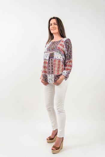Bluză vaporoasă cu imprimeu floral