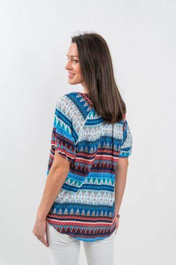 Bluză cu imprimeu geometric