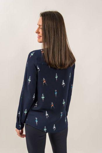 Bluză albastră cu imprimeu balerine