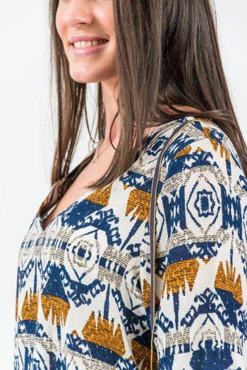 Rochie de zi cu imprimeu multicolor