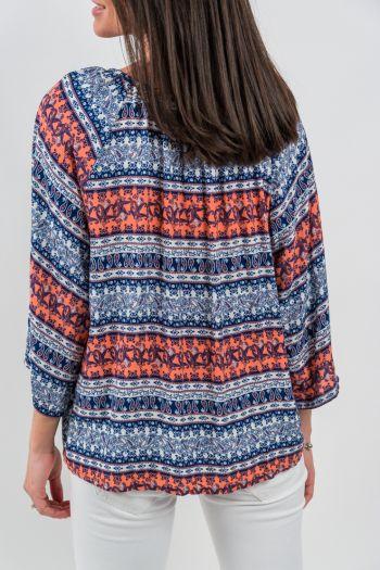 Bluză cu imprimeu șnur cu canaf și nasturi
