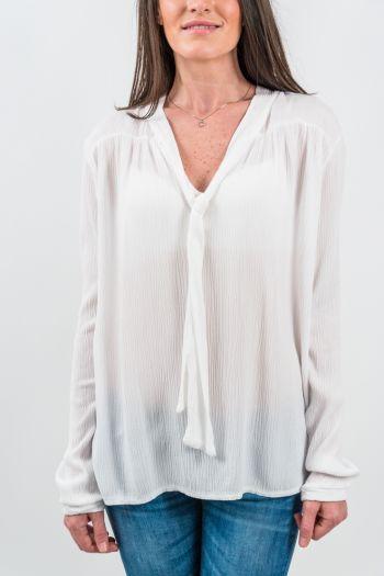 Bluză albă accesorizată cu șnur lung