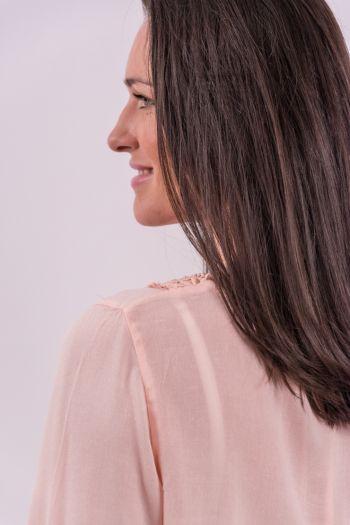 Bluză roz prăfuit asimetrică