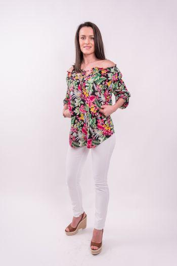 Bluză vaporoasă cu imprimeu tropical